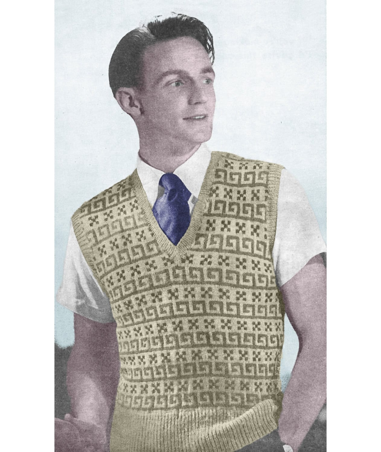 1940s Knitting Pattern for Mens Fair Isle Pullover / Sweater Vest ...