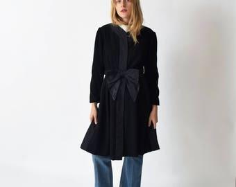 1960s Black Wool Coat Dress with Taffeta Bow Belt 60s Vintage XS S