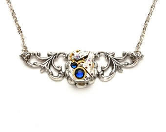 SEPTEMBER SAPPHIRE BLUE Steampunk Necklace, Steampunk Watch Necklace, Gorgeous Silver Victorian Steampunk Jewelry By Victorian Curiosities