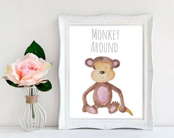 Watercolor Monkey Nursery Art Safari Nursery Zoo Nursery Monkey Nursery Art Zoo Nursery Art Zoo Animals Zoo Art, Baby Animals