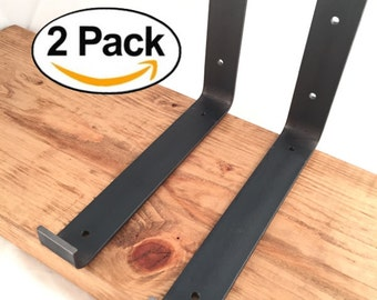 """2 Pack - 9.25""""L x 6""""H Hook Handcrafted Forged Rustic Reclaimed Salvaged Lip Metal Shelf Wall Brackets, decorative shelve Storage Strap Angle"""