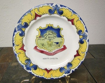 vintage Decorative Painted NORTH DAKOTA PLATE / Liberty & Union Now and Forever One and Inseparable