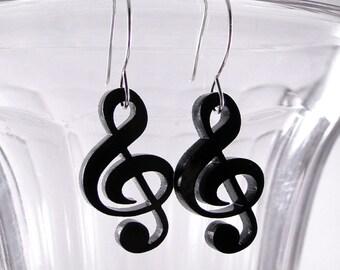 Treble Clef Musical Earrings in black