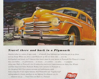 1946 Plymouth Chrysler Ad - Retro 1940s Orange Car Art - Night Sky Illustration Art - Colorful Man Cave Art