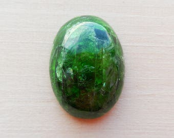 Chrome Diopside Oval Cabochon