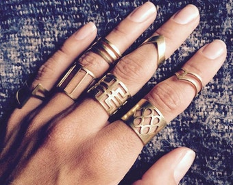 Boho rings, bohemian rings, hippie rings, gold rings, tribal rings, midi ring, brass rings, boho jewelry, midi rings, ring sets