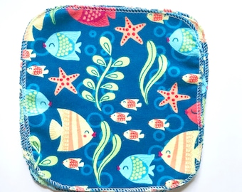 1 Ply Tropical Fish Cloth Wipes - Set of 10
