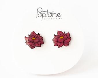 Lotus Flower Earrings, yoga earrings, Lotus flower studs, pink flower studs, lotus jewelry