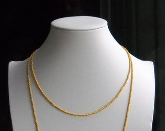 Early 80's German Chain Necklace. An unsoldered Gold Plated Brass Cable Chain Double cabe - Round . Length 110cm/ 43in.