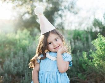 Felt Party Hat / Pom Pom Hat / Birthday Party Cone Hat / Cake Smash / First Birthday Party / Blush & Gold Glitter