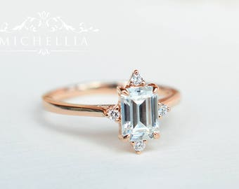 Mid-Century Emerald Cut Ring in Moissanite, Forever One Moissanite Engagement Ring, Available in 14K Gold, 18K Gold, or Platinum, R4007