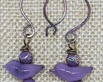 Elizabeth .. Purple earrings........Hand made.. UK artist
