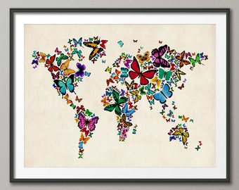 Butterflies Map of the World Map, Art Print (449)