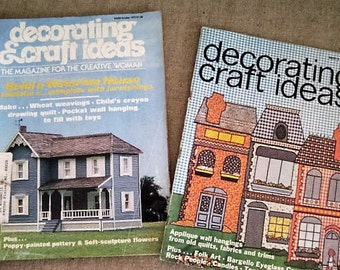 Vintage Decorating & Craft Ideas Magazine / 2 Issues of 1970's Craft Magazine