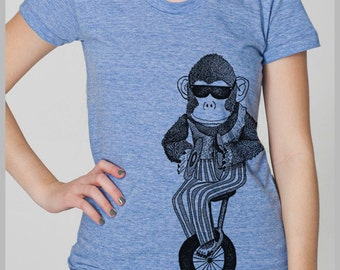 Women's T Shirt Monkey on a Unicycle Petite Clothing Cymbals Vintage Toy Animal Tshirt American Apparel Shirt S, M, L, XL 8 COLORS