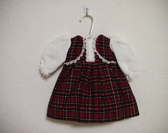 """Red checked Corduary Doll Dress Fits Most 18"""" Dolls"""
