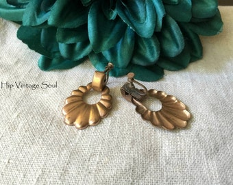 Vintage 1960's Copper Dangle Earrings, Screw Back Copper Earrings, Retro, Vintage Copper Jewelry
