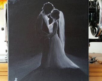 Black and white, Bride and Groom acrylic painting on stretched canvas