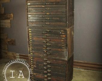 Vintage Industrial 36 Drawer Modular Flat File Typeface Cabinet