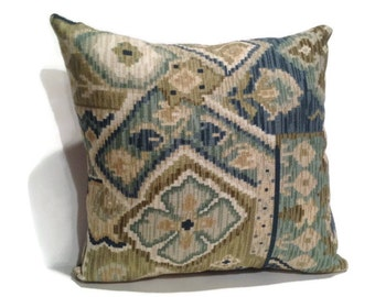 Decorative throw pillow, blue and green, home decor