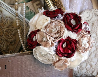 Vintage Glam Fabric Wedding Bouquet, Burgundy, Wine, White, Ivory, and Flax Satin and Lace Fabric Bouquet Vintage, Elegant Bride's Bouquet