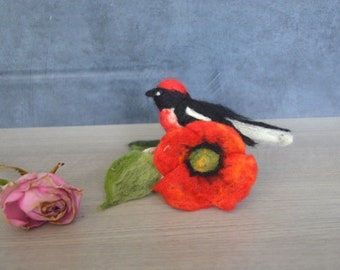 Mother's day gift she miro bird. felted wool ornament. miniature, decoration; Red Black; Waldorf, paperweight, red poppy