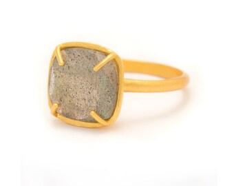 Labradorite in Yellow Gold Gemstone Ring - Rose Gold Ring - Square Cushion Cut  - Gemstone Ring - Sizes  5, 6, 7, 8, 9, 10