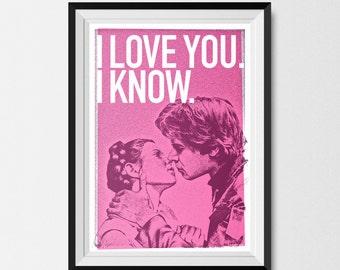 Star Wars, Inspired, Print, Han and Leia Kiss, Star Wars Print, Star Wars Poster, Han Solo, Princess Leia