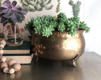 vintage brass footed planter rustic boho decor