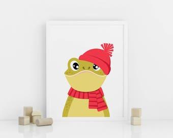Frog nursery print, Printable Nursery Animal Wall Art, Nursery Decor, Frog in a winter hat, Digital download