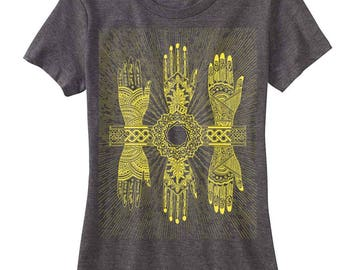 Women's MYSTIC HANDS T-Shirt Psychedelic Henna Mehndi Style Tee