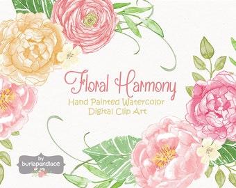 Aquarelle clipart, clipart fleur de mariage pivoine, fleur clipart, clipart mariage, renoncules, clipart mariage, invitation
