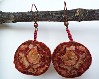 Felted earrings. Boho earrings. Felt art jewelry. Tapestry-like pattern. Hug