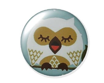 Set of 2 20mm round OWL glass cabochon