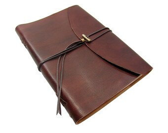 Soft leather book OX Maroon Classic A4 diary book sketchbook of brand Vicky's World - Made in Germany