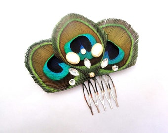 ISABEL in Natural Peacock Feather with Gold and Crystal Hair Comb