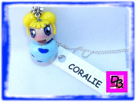 Doll, kawaii, young gift necklace, necklace, jewelry polymer creation DollyDoo child accessory, kids fashion, Coralie