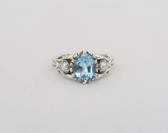 Vintage Sterling Silver Oval Aquamarine & Seed Pearl Ring Size 7