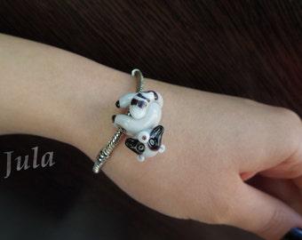 Pandora beads, European bead, Big hole bead, Lampwork bead, Raccoon bead, Raccoon pendant