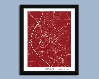 Blacksburg map, Blacksburg city map art, Blacksburg wall art poster, Blacksburg decorative map