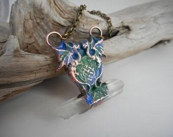 Copper Electroformed Celtic Knot Double Dragons Quartz Pendant -DragonsPendant -Quartz Point Electroformed