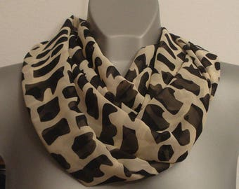 Geometric Black and Light Beige infinity scarf, lightweight Chiffon, Loop neck scarf, elegant women fashion, double side, unique gift