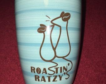 Blue and brown mug with logo