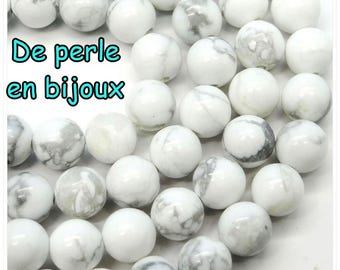 10 PCs - bead 6mm natural howlite bead semi precious 6 mm