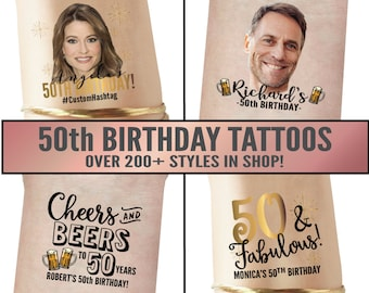 50th Birthday Party Favors | 50 and fabulous, fifty and fabulous, cheers to 50 years, 50th birthday for women, for men, custom tattoos, gift
