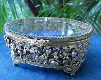 Old Jewelry Box - Antique Ormolu Beveled Glass Dresser Box - Trinket Box