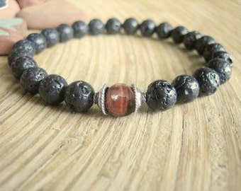 Mens Lava Stone Bracelet - Black Lava Rock Bracelet with Red Tigers Eye and Silver, Dragon's Eye for Evil Eye, Energy and Protection