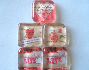 Hearts and Love Square Glass Magnets Set of 5