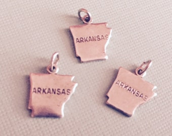 Arkansas State Charm Pendant with Loop, Antique Silver, Great for Charm Bracelets, Necklaces, Earrings