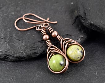 Long Drop Wire Wrapped Earrings, Green Natural African Turquoise Stone , Beaded Earrings, Oxidised Copper Earrings